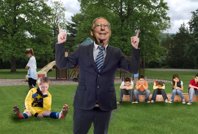 Mitch McConnell Defeats Kids in Game of Tag By Making Up New Invincibility Rule